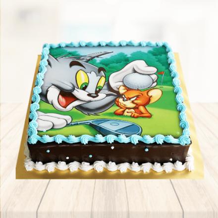 Tremendous 1 Kg Tom Jerry Photo Cake Personalised Birthday Cards Veneteletsinfo