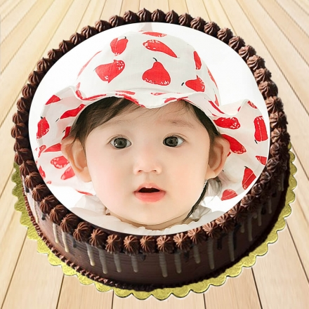 Lovely Baby Chocolate Photo Cake
